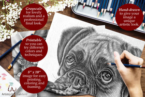 Printable Coloring Page: Bulldog And Sunflowers in Grayscale