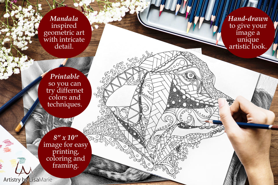Printable Coloring Page: Zendoodle of Retriever Dog, , ArtistrybyLisaMarie