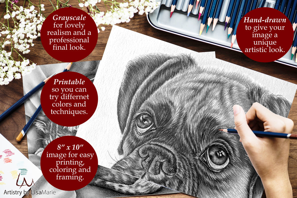 Adult Coloring Pages - Set of Coloring Sheets with Grayscale Dogs, Set #10