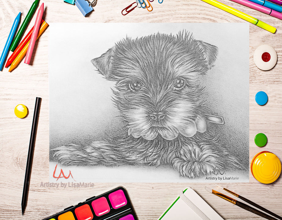 Printable Coloring Page: Puppy in Grayscale, , ArtistrybyLisaMarie
