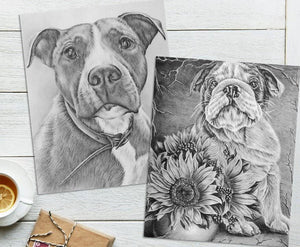 Adult Coloring Pages - Set of Two Coloring Sheets with Grayscale Dog Art, Set #3