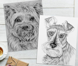Adult Coloring Pages - Set of Two Coloring Sheets with Grayscale Dog Art, Set #4, , ArtistrybyLisaMarie