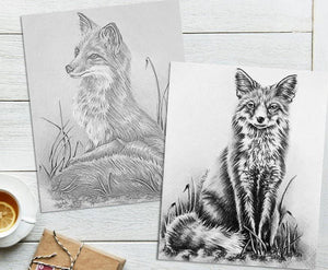 Adult Coloring Pages - Set of Two Coloring Sheets with Grayscale Fox Art, Set #5, , ArtistrybyLisaMarie