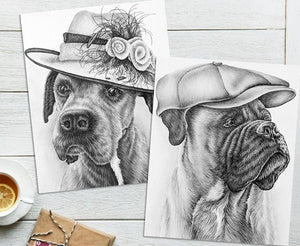 Adult Coloring Pages - Set of Two Coloring Sheets with Grayscale Dog Art, Set #6