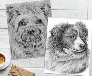 Adult Coloring Pages - Set of Two Coloring Sheets with Grayscale Dog Art, Set #7