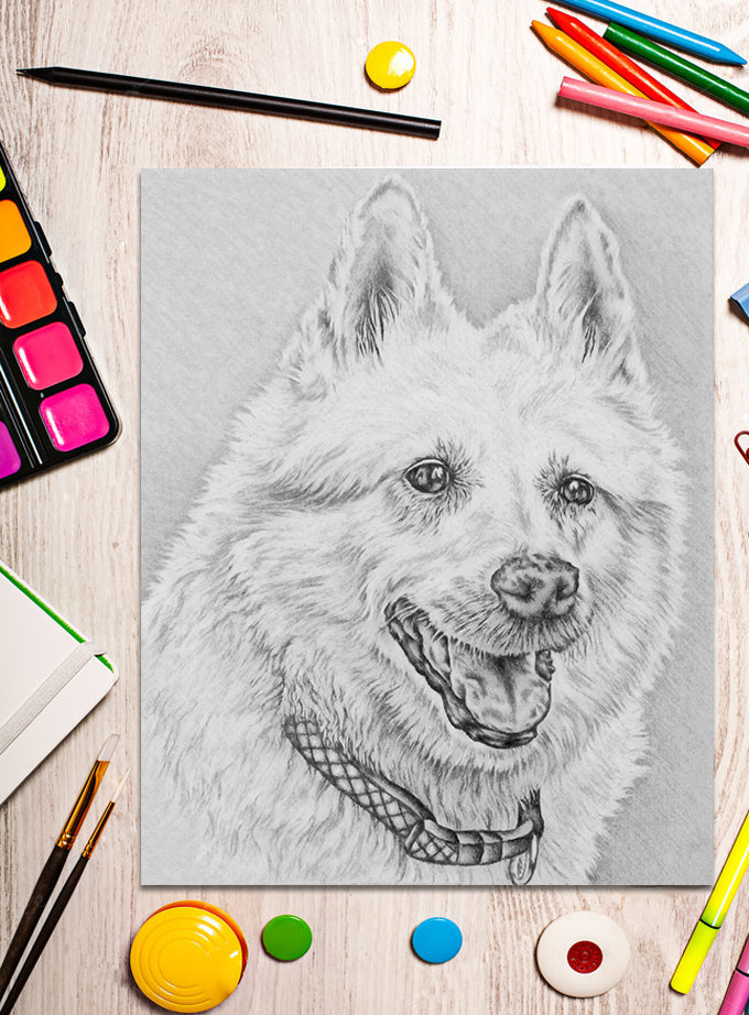 Printable Coloring Page: Shep Dog in Grayscale, , ArtistrybyLisaMarie