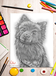 Printable Coloring Page: Small Black Dog in Grayscale