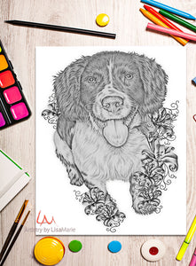 Printable Coloring Page: Spaniel With Lilies in Grayscale, , ArtistrybyLisaMarie