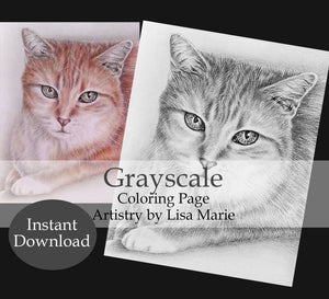 Printable Coloring Page: Tabby Cat in Grayscale, , ArtistrybyLisaMarie