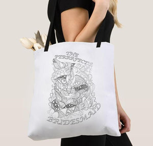 Coloring Tote Bag: The Perfect Bridesmaid, Tabby Cat, , ArtistrybyLisaMarie