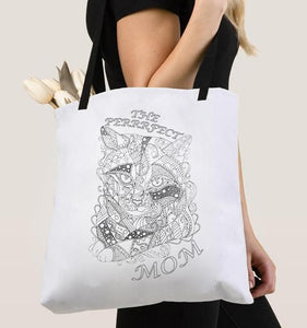 Coloring Tote Bag: The Perfect Mom, Tabby Cat, , ArtistrybyLisaMarie