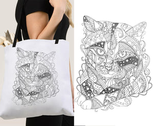 Coloring Tote Bag: Zendoodle of Tabby Cat, , ArtistrybyLisaMarie
