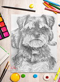 Printable Coloring Page: Terrier Dog in Grayscale