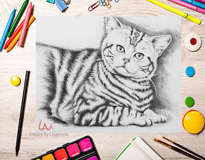 Printable Coloring Page: Tiger Cat in Grayscale