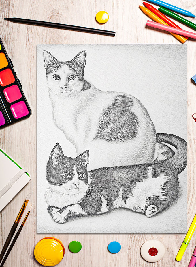 Printable Coloring Page: Two Cats in Grayscale, , ArtistrybyLisaMarie