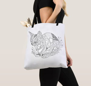 Coloring Tote Bag: Zendoodle of Cat and Flowers, , ArtistrybyLisaMarie