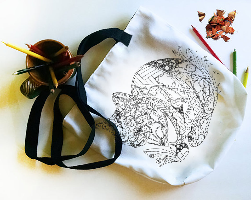 Coloring Tote Bag: Geometric Art of Cat and Flowers, , ArtistrybyLisaMarie