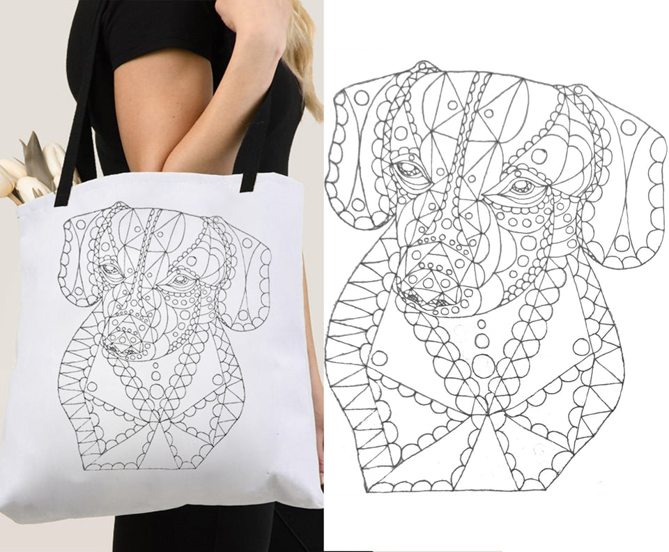 Coloring Tote: Zendoodle of Dachshund Dog, , ArtistrybyLisaMarie