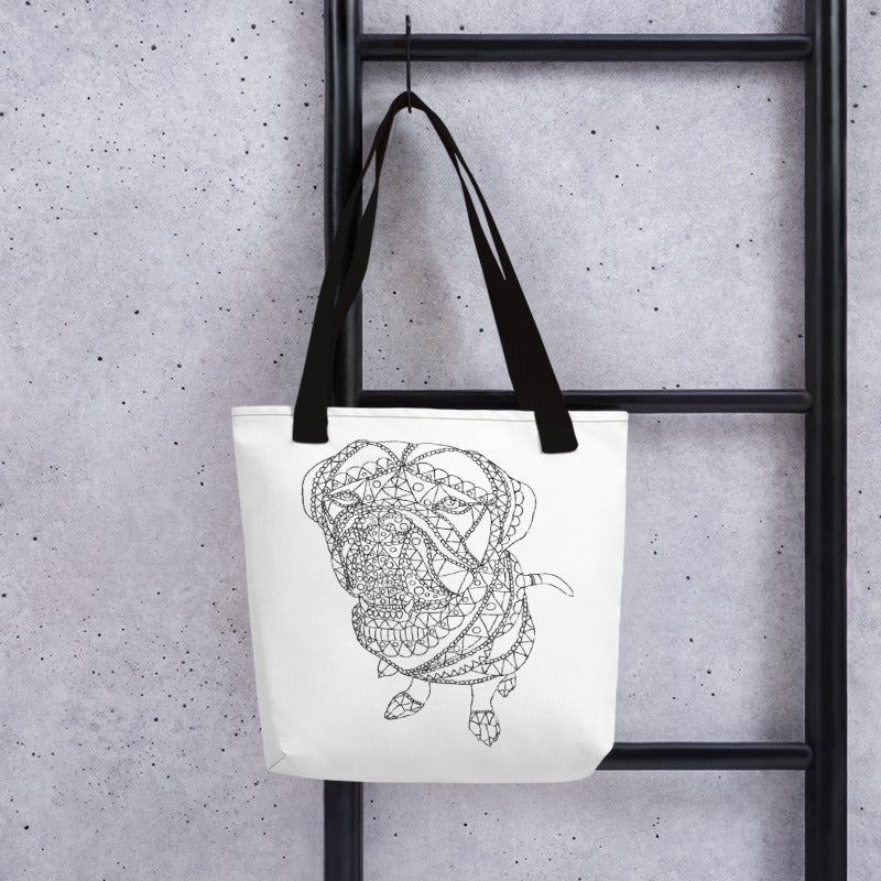 Coloring Tote Bag: Zendoodle of Mastiff Sitting, , ArtistrybyLisaMarie