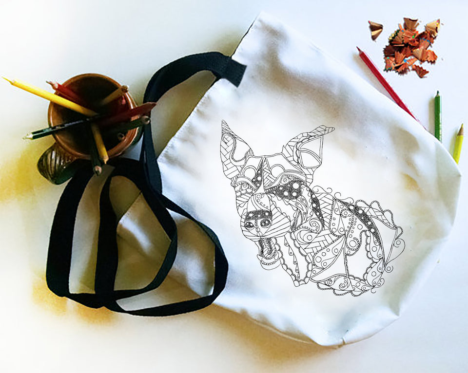 Coloring Tote: Zendoodle of Cute Dog, , ArtistrybyLisaMarie