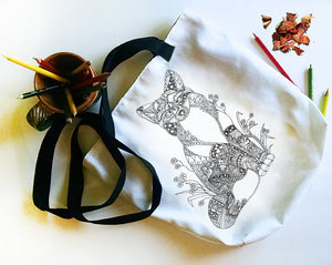 Coloring Tote: Zendoodle of Fox, , ArtistrybyLisaMarie