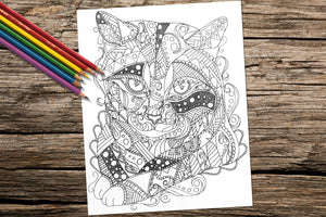 Printable Coloring Page: Zendoodle of Tabby Cat, , ArtistrybyLisaMarie
