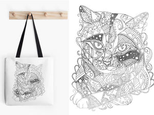 Coloring Tote Bag: Geometric Art of Tabby Cat, , ArtistrybyLisaMarie