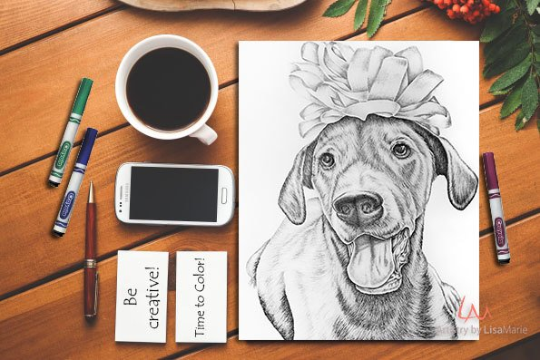 Printable Coloring Page: Labrador With Bow in Grayscale, , ArtistrybyLisaMarie