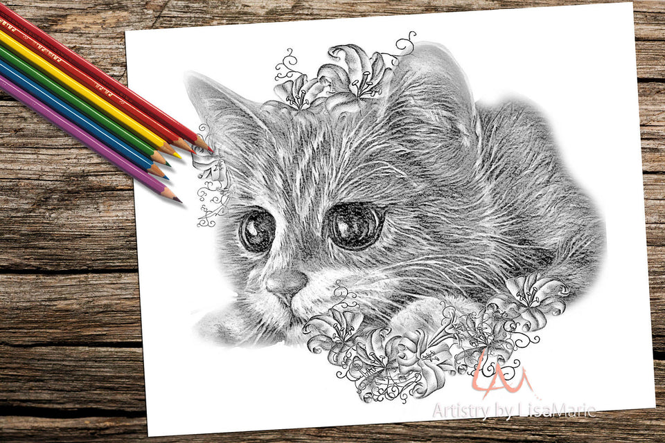 Printable Coloring Page: Kitten With Lilies in Grayscale, , ArtistrybyLisaMarie