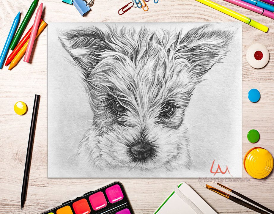 Printable Coloring Page: Cute Puppy in Grayscale, , ArtistrybyLisaMarie