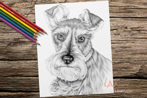 Printable Coloring Page: Schnauzer in Grayscale, , ArtistrybyLisaMarie