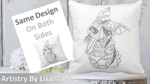 Coloring Pillow: Geometric Art Of Funny Dog, , ArtistrybyLisaMarie