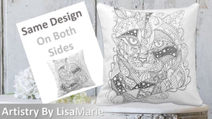 Coloring Pillow: Zendoodle of Tabby Cat, , ArtistrybyLisaMarie