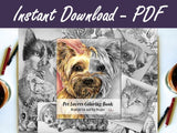 Printable Coloring Book - Pet Lovers Coloring Book of Grayscale Dogs and Cats, , ArtistrybyLisaMarie