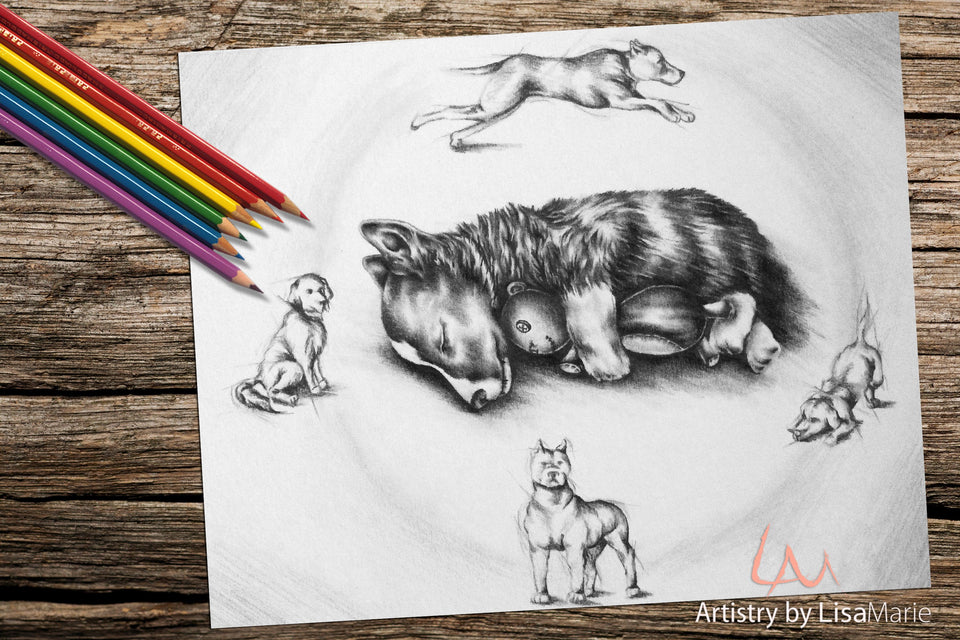 Printable Coloring Page: Puppy Sleeping in Grayscale, , ArtistrybyLisaMarie