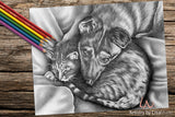 Printable Coloring Page: Cat and Dog in Grayscale, , ArtistrybyLisaMarie