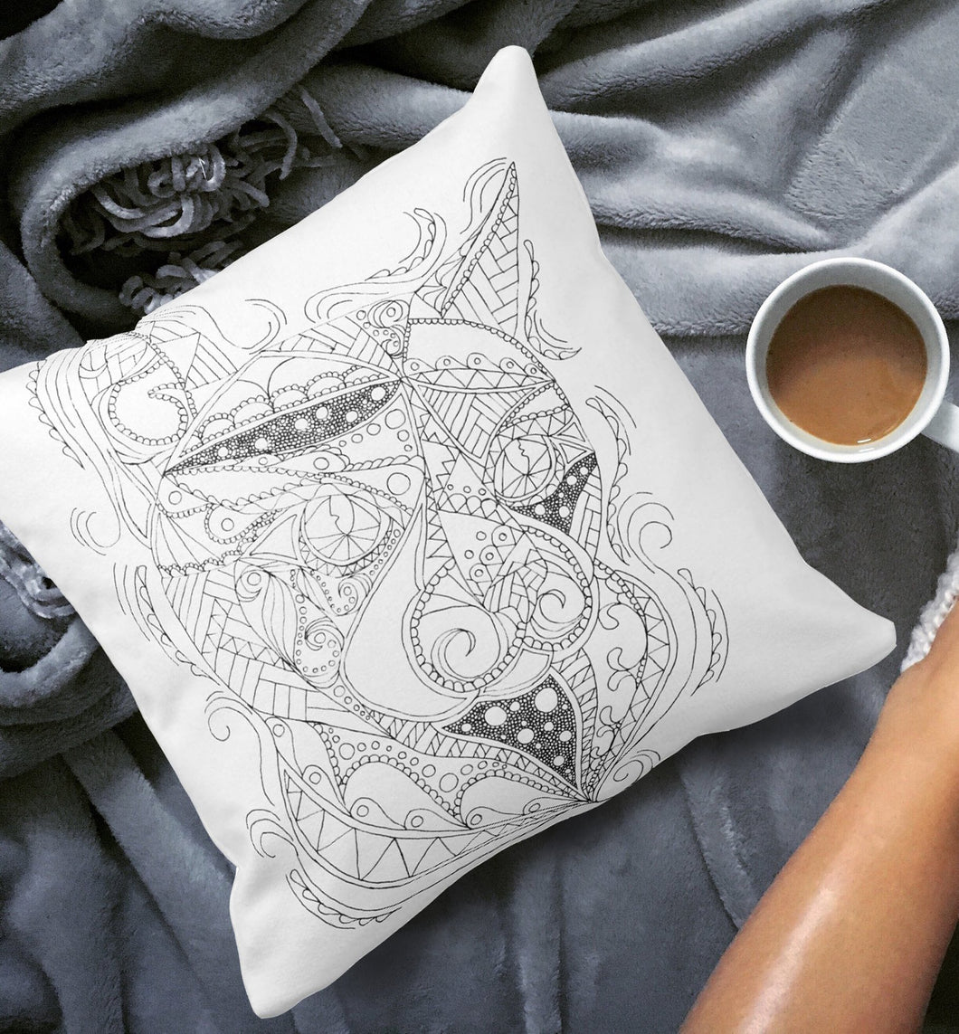 Coloring Pillow: Zendoodle of Cat Posing, , ArtistrybyLisaMarie