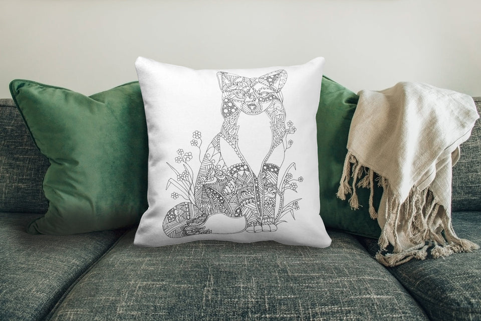 Coloring Pillow: Geometric Art of Fox, , ArtistrybyLisaMarie