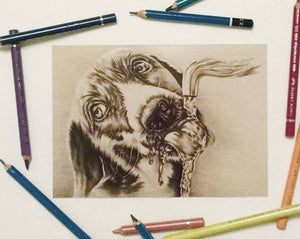 Fine Art Print: Drawing of Dog Drinking in Sepia, , ArtistrybyLisaMarie