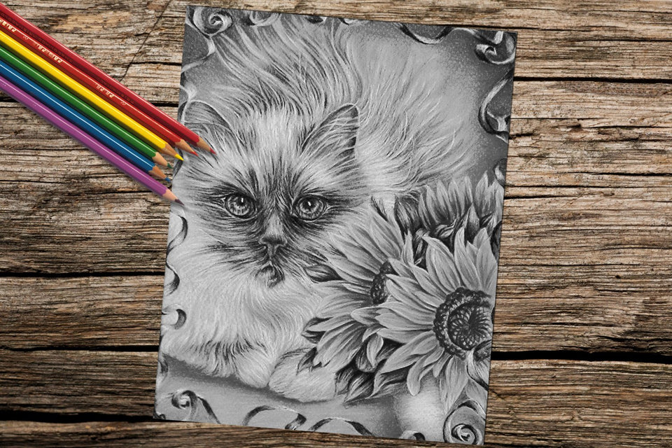 Printable Coloring Page: Cat with Sunflowers in Grayscale, , ArtistrybyLisaMarie