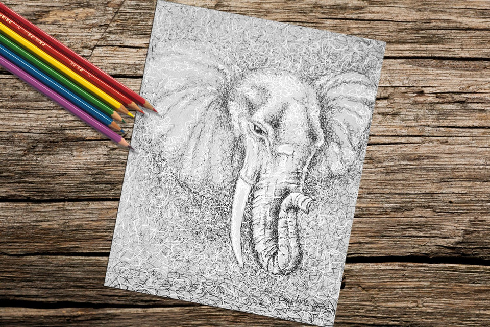 Printable Coloring Page: Elephant, , ArtistrybyLisaMarie