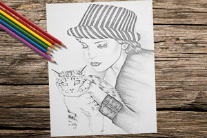 Printable Coloring Page: Girl With Cat in Grayscale, , ArtistrybyLisaMarie