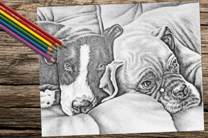Printable Coloring Page: Two Dogs in Grayscale, , ArtistrybyLisaMarie