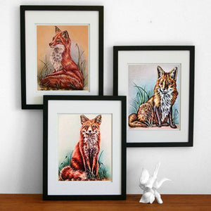 Fine Art Print Set: Drawings of Red Foxes, , ArtistrybyLisaMarie