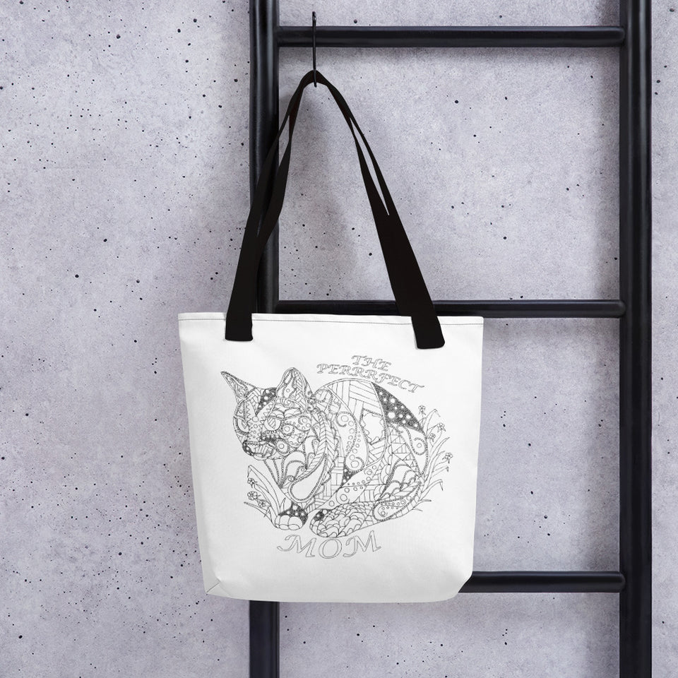 Coloring Tote Bag: The Perfect Mom, Cat with Flowers, , ArtistrybyLisaMarie