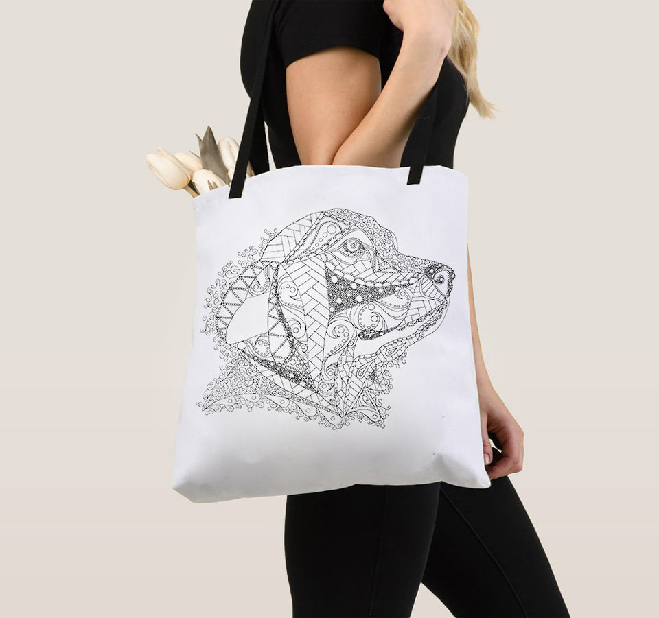 Coloring Tote Bag: Geometric Art of Retriever Dog, , ArtistrybyLisaMarie