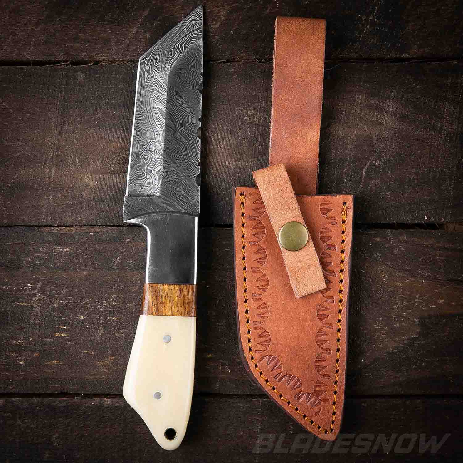 Damascus Steel Fixed Blade Tanto Knife White Bone