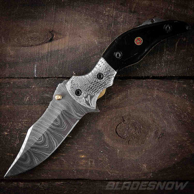 Damascus Steel Birdie Black Horn Folding Knife