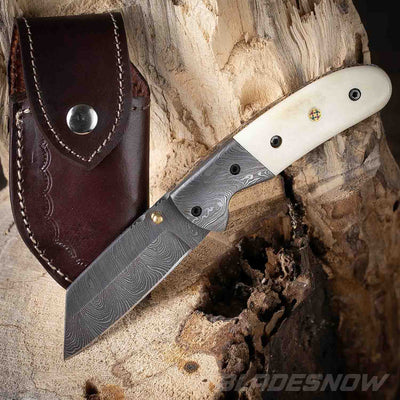 White Bone Handle Damascus Steel Folding Pocket Cleaver