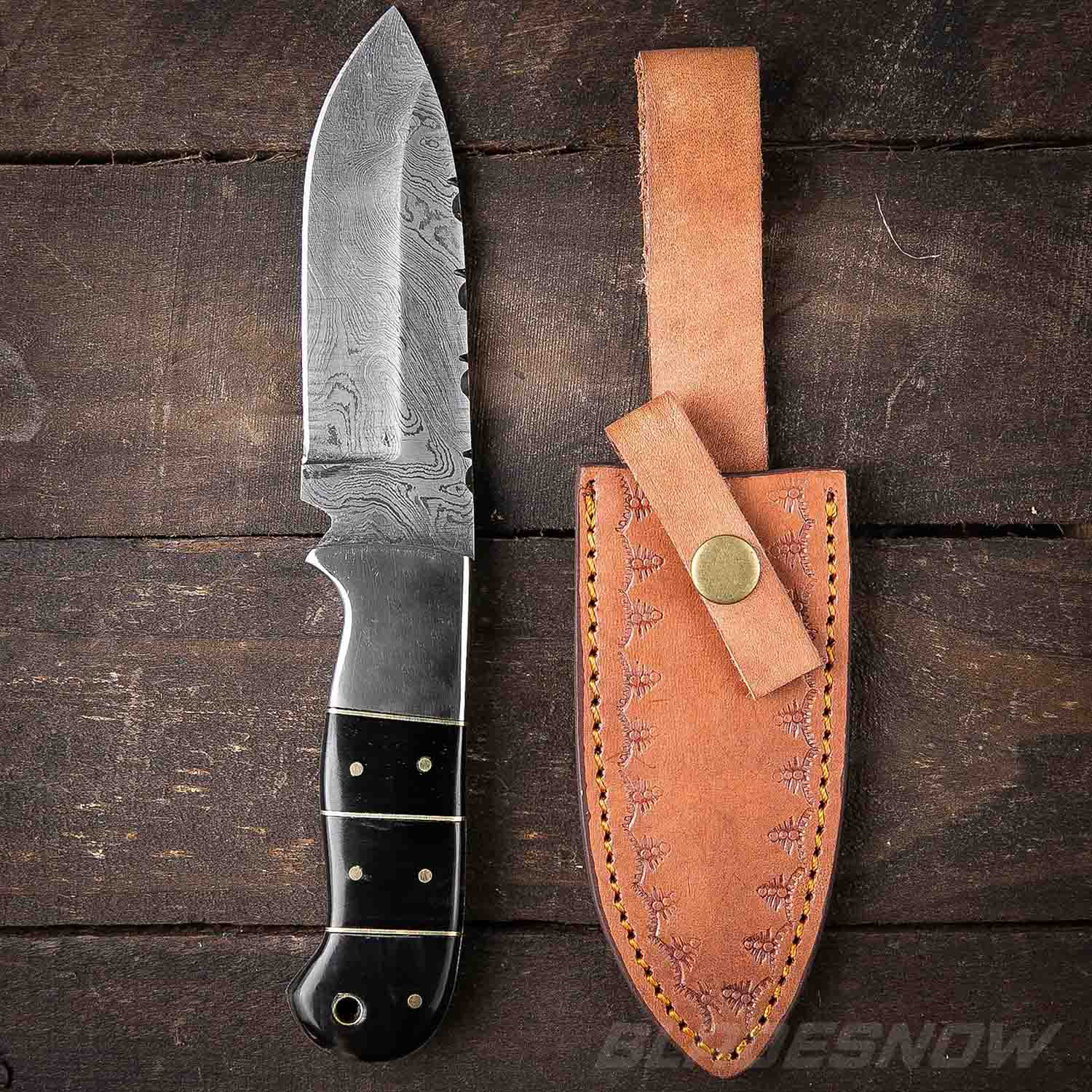 Black Horn Damascus Steel Fixed Blade Knife